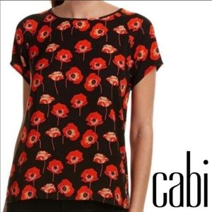 Cabi Flanders Poppy Flowers Blouse 3251 Large